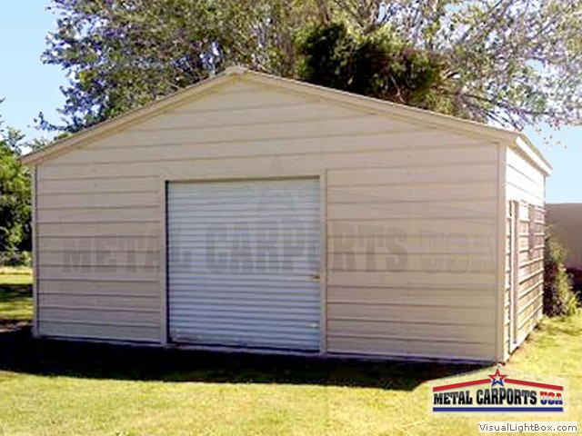 24x31x8 Box Eve,Vertical Roof,All Closed,1-Walk-n-door on side,1-window, 9x7 roll up goor
